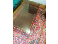 Hollywood regency mid-century - 1970s vintage gold two tiered coffee table with smoked glass