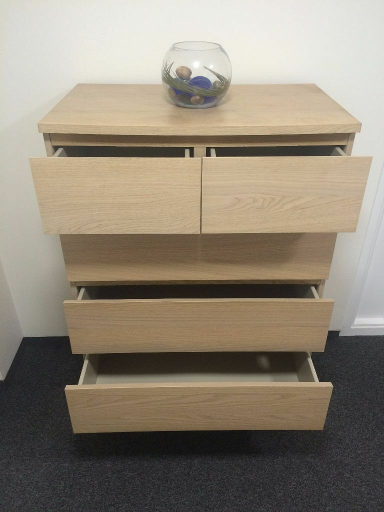 Ikea Malm Chest Of 6 Drawers White Stained Oak Veneer Colour