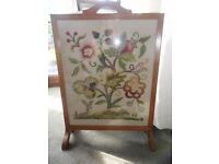 LARGE VINTAGE NEEDLEWORK FIRE GUARD