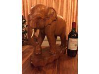 Large Carved Teak Elephant ornament 38cm high very imposing with tusks Polished Teak Hand Carved