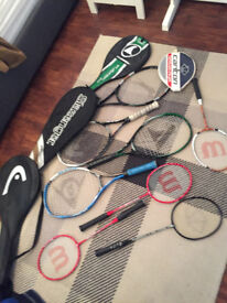 Selection of tennis and badminton racquets