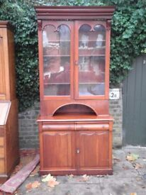 GENUINE AND ORIGINAL VICTORIAN ANTIQUE MAHOGANY BOOKCASE GOOD CONDITION.