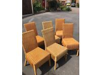 Set of 6 wicker dining chairs