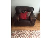 Brown leather corner suite with chunky arm chair