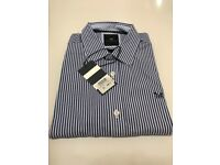 Crew blue and white striped shirt