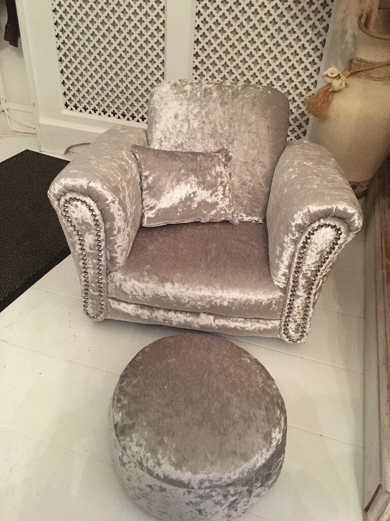Silver Crushed Velvet Children S Armchair Stool