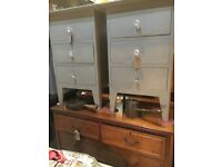 BEDSIDE CABINETS 3 DRAWERS FRENCH GREY GLASS HANDLES