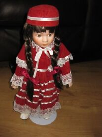 PORCELAIN DOLL with STAND - LOVELY CONDITION - NOW REDUCED AGAIN! Bargain Price!