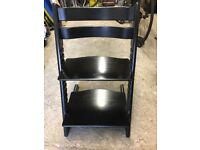 Stokke Tripp Trapp Chair, beech wood, black finish with fixings for 6 month old babies