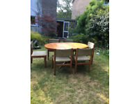 Vintage 1960's Extending Teak Dining Table with 6 chairs