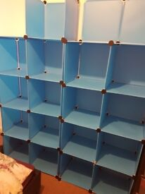 Pladtic storage shelves and drawers