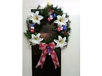 real fresh holly christmas grave wreath