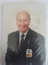 Sir Bobby Charlton signed promo card