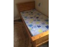 Single Solid Pine Bed with Mattress and Duck Down Topper.