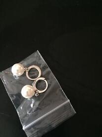 925 silver sterling pearl drop earrings