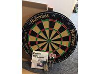 Harrows official competition bristle dartboard+5 darts+unicorn maestro darts tune-up kit
