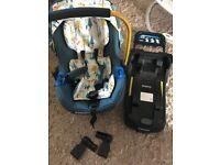 Cosatto port car seat, isofix base and adaptors