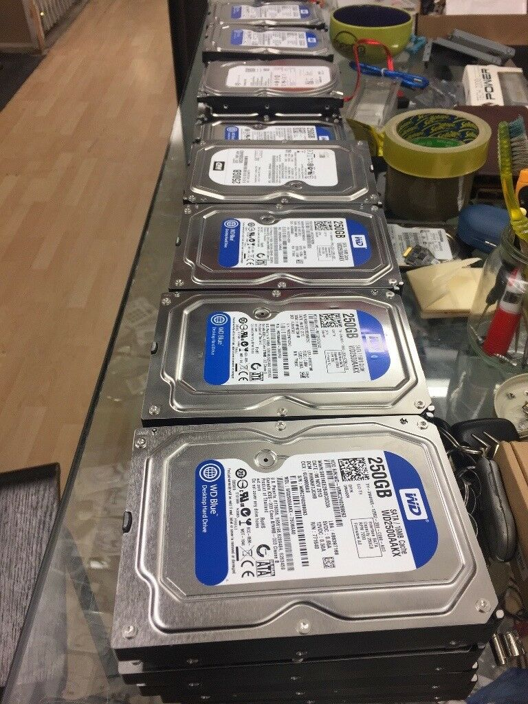 joblot 30 x hard drives 250GB SATA Westren digital