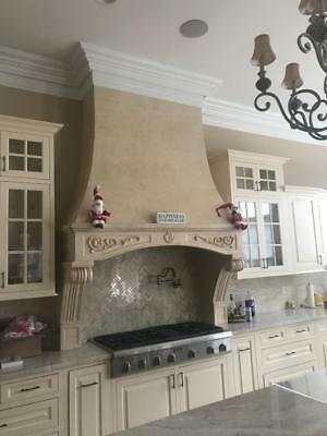 BEAUTIFUL HAND CARVED MARBLE ESTATE KITCHEN STOVE HOOD -