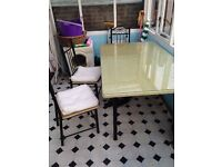 6 Chairs and table metal frame with glass top 30 POUNDS Bargain !