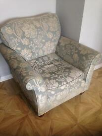 Duck egg blue & floral deep seated arm chair- £45 collect Fareham Po15