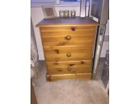 Pine bedside table / bedside cabinet 3 drawers