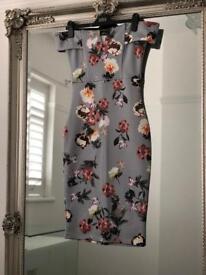 Grey Floral Bardot Dress Size 10