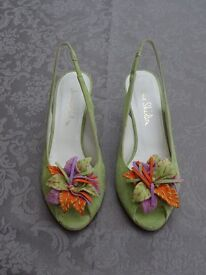 Jane Shilton luscious lime green suede slingback sandals. Brightly decorated at toes. Size 36
