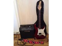 electric guitar ibanez (EMG 81 pickup) + spider IV 15 + guitar case (amazing beginner's guitar set)