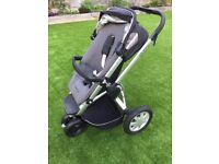 Quinny Buzz single seat, black stroller, rain cover, change bag, foot muff, blanket and sunshade