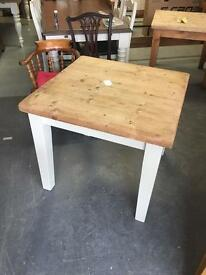 Square pine farmhouse dining table