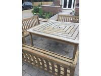 Garden Table and Benches, Hardwood, made by Bridgman