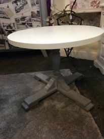 Circular Table painted in Farrow & Ball Clunch and Mole's Breath