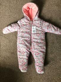 mothercare baby snowsuit size 3-6