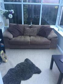 Brown 3 seater fabric sofa