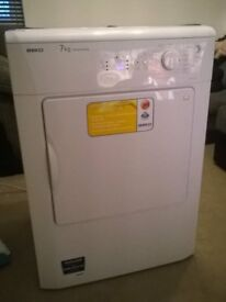 beko white 7kg vented dryer. ex cond. cost £169 new