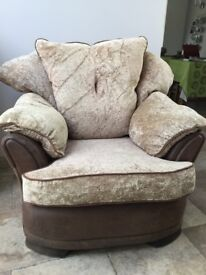 Fabric Armchair in light brown