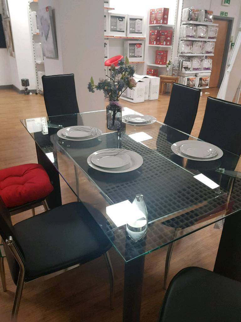 Barcelona 6 Seater Seating Glass Dining Table Oldham