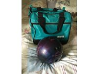 Ebonite Maxim bowling ball 8.8lb with stand and bag