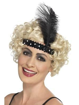VINTAGE STYLE 1920's GREAT GATSBY FLAPPER BURLESQUE SEQUIN HEADBAND WITH FEATHER