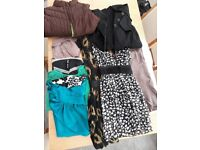 ladies size 16 bundle including black mac, brown gilet, 2 dresses, 2 skirts, tops