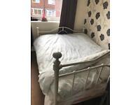 Cream double bed + mattress