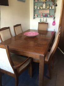 Dining table n six chairs perfect for up- cycle