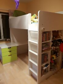 Ikea loft bed with desk and open shelf unit