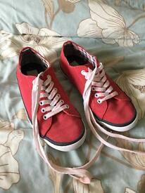 Boys red next plimsolls size 5