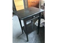 Side table bedside black wood with drawer