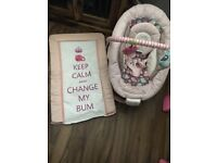 Girls changing mat and mothercare bouncer