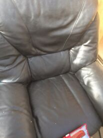 Black leather sofa 3 seater and 2 one seater