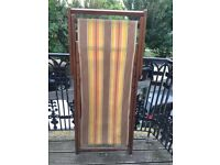 Pair vintage striped deck chairs
