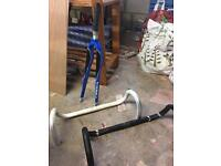 Carbon Road bike Forks and 2 alloy drop Handle Bars